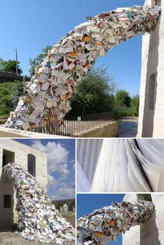 Enormous Sculptures Of Books Exploding Out Of Buildings Book - Artist uses banned books to create monumental sculpture against political oppression