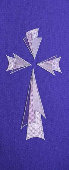 Purple stole design triangular 3 layer cross Love the 3-D look to this cross - would make a good banner or use the technique for another symbol