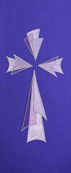 Purple stole design triangular 3 layer cross