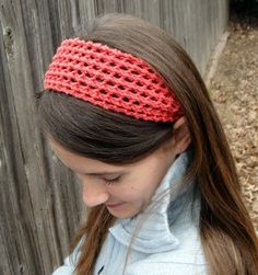 Add a pop of color to your hair with this free knitting pattern for the Coral Lace Headband.