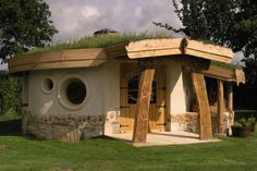 A cob roundhouse called 'Back from the Brink' in Slimbridge, Gloucestershire, England at the Wildfowl and Wetland Trust.
