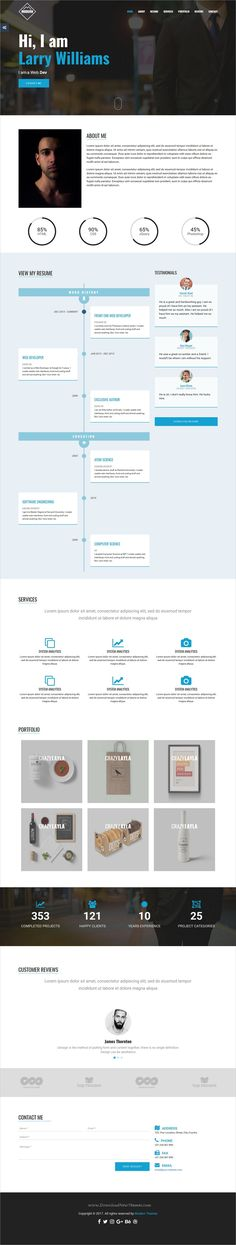 Webfolio Vcard/Resume Template | Modern Resume And Resume Cv