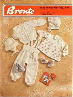 Vintage PDF Baby Knitting Pattern - Bronte 814 - cardigan, jacket, dungarees, bonnet, hat, booties, sweater