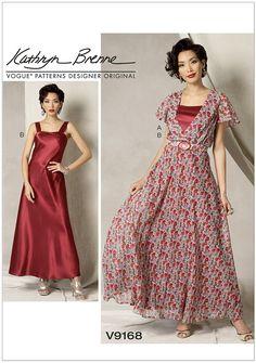 Misses Flutter-Sleeve Dress, Belt and Slip Vogue Sewing Pattern 9168.