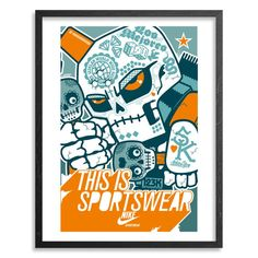 """123KLAN POSTER FOR NIKE - PRINT  SKULL  Limited stock  Print by 123Klan .  40 x 60 cm   15,748 x 23,622 inches  Signed by artists Scien and Klor  """"123KLAN: when street knowledge meets technology, and graffiti art melts with with graphic design."""""""