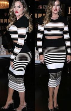 Khloe Kardashian Crop Top and Pencil Skirt Wool Outfit