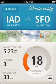 Just Landed App: Simple interface for tracking and reminding you when to leave to pick someone up from a flight.