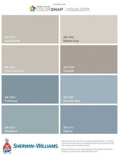 Ideas Exterior House Colors Sherwin Williams Blue For 2019 Interior Paint Colors For Living Room, Exterior Paint Colors For House, Paint Colors For Home, Exterior Colors, Blue Gray Paint Colors, Grey Paint, Paint Colours, Bluish Gray Paint, Colour Gray
