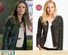Zoe's dark tweed jacket and leopard jeans on Hart of Dixie.  Outfit Details: https://wornontv.net/10757/ #HartofDixie