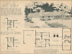 1950 ranch home plans - Google Search