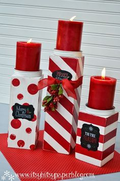 ** DIY Christmas Candles Made Out Of Wood Holders And Plain Red Candles @craftgossip