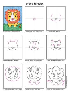 Draw a Baby Lion · Art Projects for Kids Art Drawings For Kids, Doodle Drawings, Drawing For Kids, Cartoon Drawings, Animal Drawings, Drawing Projects, Drawing Lessons, Art Projects, Glitter Paint Art
