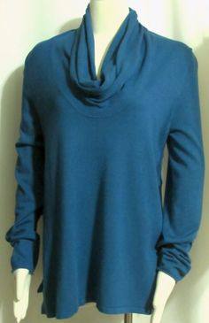 NEW Womens Ladies GRACE ELEMENTS Blue Open Side Cowl Neck Stretch Sweater M #GraceElements #CowlNeck #Versatile