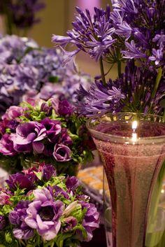 Lilac and purple flower arrangements for a Bat Mitzvah.