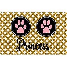 Personalized Pet Food Mats - Gold Glitter