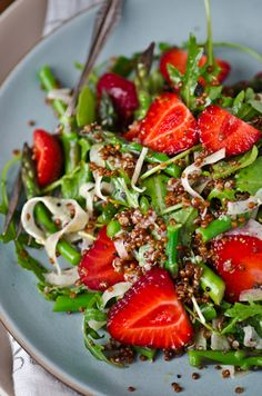 - For more information visit: http://www.scalingbackblog.com/savory-bites/strawberry-asparagus-quinoa-salad/