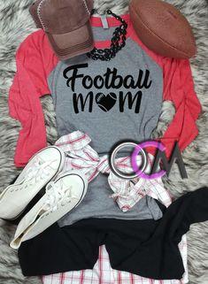 Football Mom Raglan, Football Mama Shirt, Ladies Football Shirt, Football Momma Shirt- Raglan - One Crafty Momma Football Mom Shirts, Basketball Shirts, Team Shirts, Vinyl Shirts, Momma Shirts, Shirts For Girls, Sports Mom, Fashion Outfits, Lady