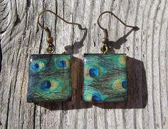 Repurposed Scrabble tile earrings  peacock  gift by MontanaMagic
