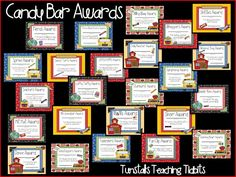 Tunstall's Teaching Tidbits: Academic Awards for Elementary Students End Of School Year, School Fun, School Days, School Stuff, School Forms, School Parties, Candy Bar Awards, Fun Awards, Student Awards