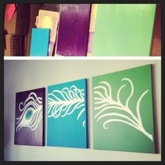 Pinterest inspired painting for my peacock themed room. #bedroom #peacock