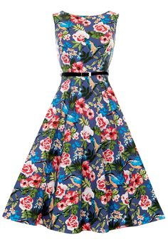 Kingfisher Print Hepburn Dress : Lady Vintage