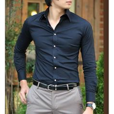Men Navy Blue Long Sleeve Slim Fit Button Down Dress Shirts SKU-142122