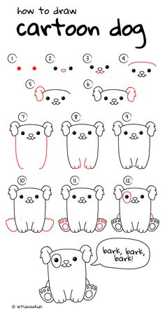 How to draw cartoon dog. Easy drawing, step by step, perfect for kids! Let's draw kids. http://letsdrawkids.com/