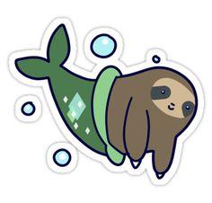 """Mermaid Sloth"" Stickers by SaradaBoru | Redbubble"