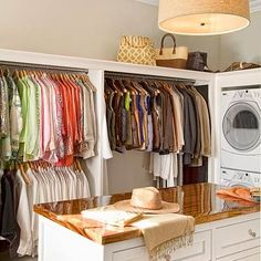 laundry units in the closet. Also like the overhead shelves and high/low bars in this one