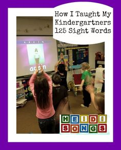 Heidi Songs How I Taught My Kindergartners 125 Sight Words. This teacher has some awesome ideas for learning sight words! Teaching Sight Words, Sight Word Activities, Learning Activities, Word Games, Teaching Ideas, Kindergarten Language Arts, Kindergarten Literacy, Kindergarten Sight Words, Literacy Centers