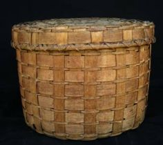 Large century Native American splint covered basket, diameter height 12 Hanauer and Seidman antiques