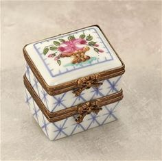 Limoges Double Box with Basket of Flowers The Cottage Shop