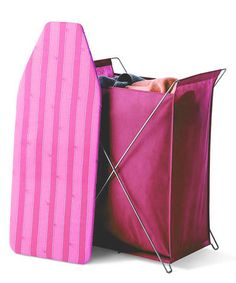 Take a look at this Raspberry Stripe Laundry Hamper & Ironing Board by homz on #zulily today!
