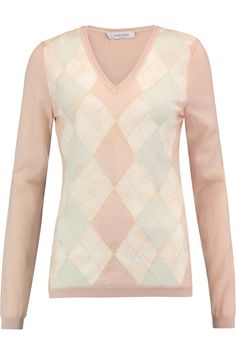 VALENTINO CORDED LACE-PANELED INTARSIA WOOL SWEATER £600 http://www.theoutnet.com/product/1017567