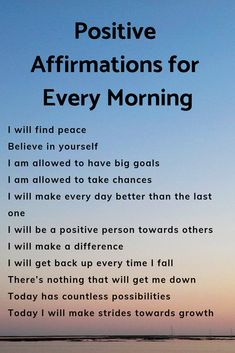 Positive affirmations to start your day off right! Set the mood for your day first thing these morning affirmations! Affirmations Positives, Positive Affirmations Quotes, Self Love Affirmations, Morning Affirmations, Law Of Attraction Affirmations, Affirmation Quotes, Quotes For Positive Thinking, Positive Thinking Exercises, Affirmations For Anxiety