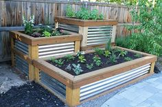 Potager Garden Raised Herb Garden timbers with galvanized metal sides - You will love these amazing Raised Herb Garden Planter Ideas and there is something for everyone. Watch the video tutorial too. Making Raised Garden Beds, Raised Herb Garden, Herb Garden Planter, Building A Raised Garden, Garden Boxes, Raised Beds, Herbs Garden, Raised Gardens, Fence Garden
