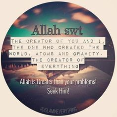 Allah IS much greater than your problems! Seek help with Patience and prayers! Les Religions, Islam Muslim, Greater Than, Hadith, Deen, Ramadan, Quran, Patience, You And I