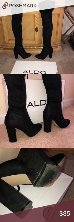 ALDO Black Over Knee Almond Toe Block Heel Boots Size: 8  **Materials** Upper: Suede Lining:  Sole: Synthetic   **Measurements**  Heel Height: 3.75 Inches  Shaft Height 22 Inches   Only worn Once & Boots come with Original Box Aldo Shoes Over the Knee Boots