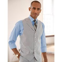 Stripe Seersucker Pure Cotton Suit Separate Vest from Paul Fredrick Summer 2016 Trends, Smart Styles, Cotton Suit, Grown Man, Suit Separates, Business Attire, Wedding Suits, Seersucker, Vest