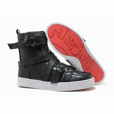 Christian Louboutin Spacer Flat High Top Womens Sneakers Leather Black