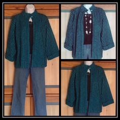 Vintage Boucle-like Cardigan Jacket Teal and Black Great jacket from the 1980s. It's difficult to capture the actual color of this piece; the actual color is teal or a rich turquoise with black stripes. One-button closure at the top. The size is a German 42 which is about a 12. 100% acrylic. Jackets & Coats
