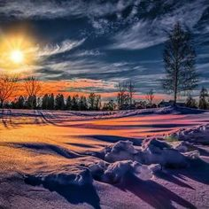 Pin by Nicole Tremblay on Paysages in 2019 Winter Sunset, Winter Scenery, Winter Snow, Amazing Drawings, Winter Beauty, Winter Wonder, Winter Landscape, Aesthetic Pictures, Ciel
