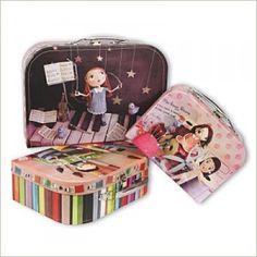 Lote de 3 maletas motivos costura diseño de Chloé Rémiat para La Marelle