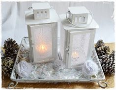 Two Shades of Pink: Pretty Lanterns: Diffuse Light with Lace & Fabric