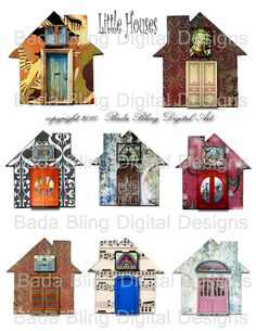 Little Houses altered art digital collage by BadaBlingDigitalArt, $3.75