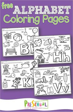 FREE Alphabet printables to help kids practice listening for the sound letters makes while learning their ABCs. These alphabet coloring sheets are perfect for toddler, preschool, prek, and kindergarten age kids. #alphabet #coloringpages #prek