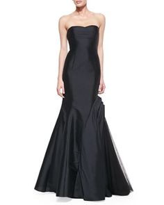 Strapless Black Trumpet Gown with Side Tulle Inset by ML Monique Lhuillier at Neiman Marcus.