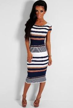Seaside Blue and White Stripe Bodycon Midi Dress from Pink Boutique at SHOP.COM UK