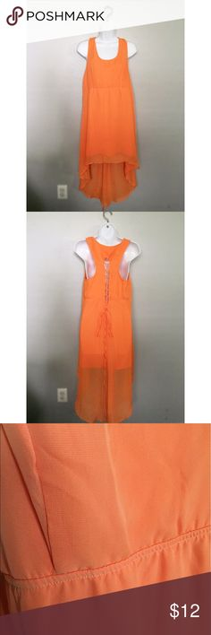 ❤︎ New Orange High Low Cut Out Summer Dress Brand new orange high low orange dress. Cute cut out design in the back. Perfect for summer. Very lightweight. 65% cotton/ 35% polyester. Size large. Dresses High Low