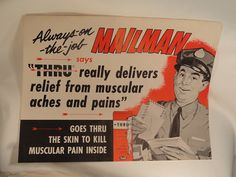 **from old drug store that closed in Pittsburgh, Allentown area. poster is for Rexall product THRU, spokes person featured is mail carrier.
